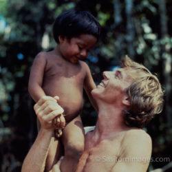 Adrian Warren With A Waorani Indian Boy, Ecuador