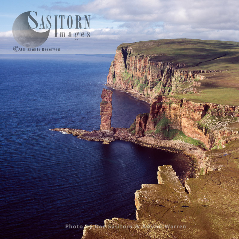 The Old Man Of Hoy, 449 Foot Sea Stack Of Red Sandstone On Orkney Islands, Scotland