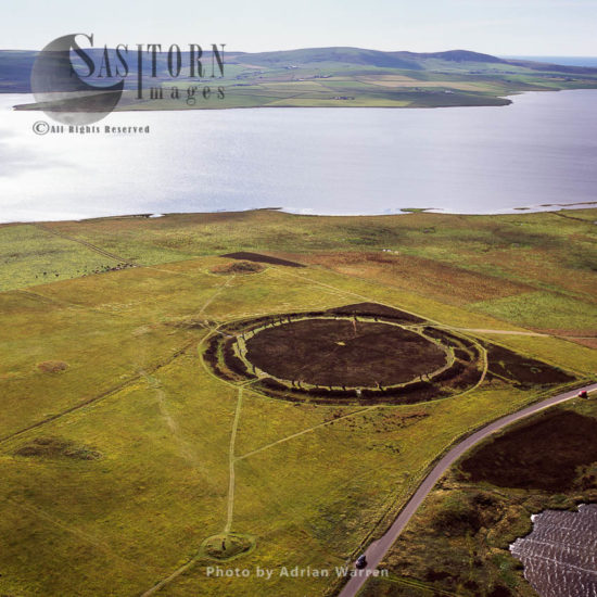 The Ring Of Brodgar, A Neolithic Henge And Stone Circle In Orkney, On A Small Isthmus Between The Lochs Of Stenness And Harray, Orkney Islands, Scotland