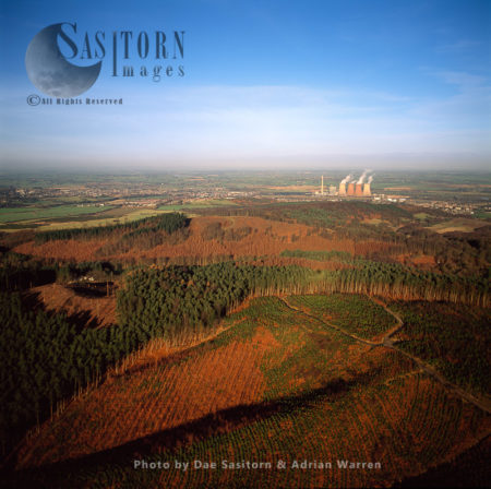 Cannock Chase With Rugeley Power Station In Background, Staffordshire