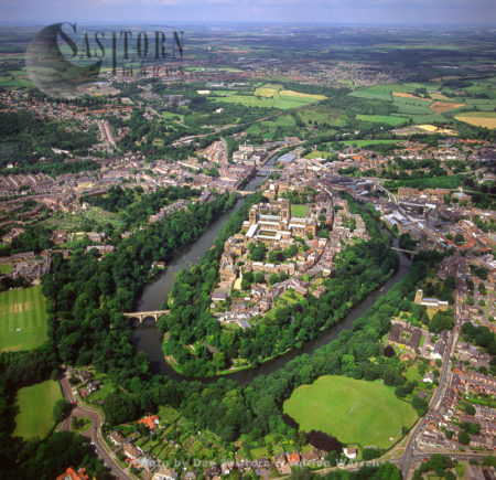 Durham With Its Cathedral And Castle, Lies On River Wear, North East Eng;and