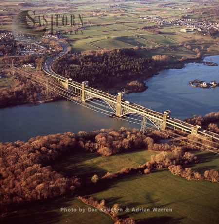 Britannia Bridge On Menai Strait, At Caernarvon, North Wales