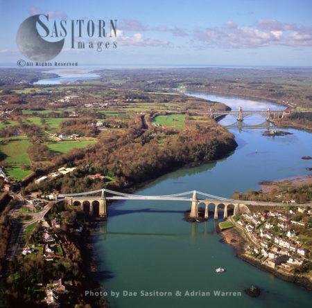 Suspension Bridge On Menai Strait With Britannia Bridge In Background, Caernarvon, North Wales , England