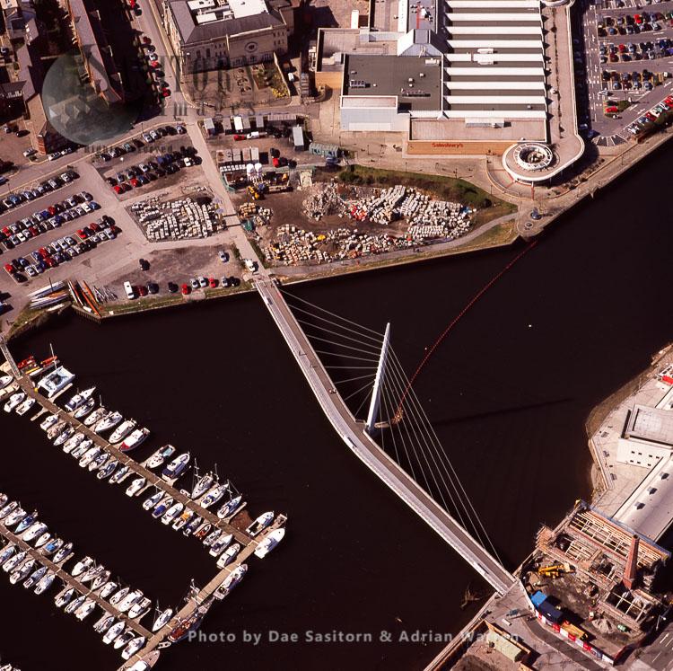 Sailbridge Suspension Bridge over Swansea Docks, South Wales