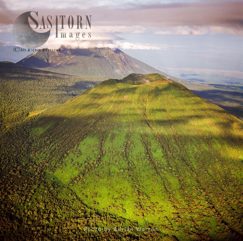 Mount Visoke, An Extinct Volcano, With Mount Mikeno In Background, Virunga Volcanoes