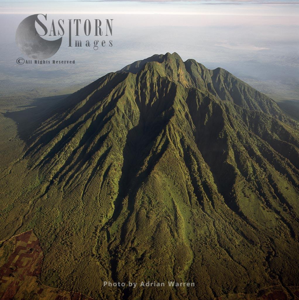 Mount Sabyinyo, Virunga Volcanoes, Home Of Mountain Gorilla, Borders Of  Congo, Rwanda, And Uganda