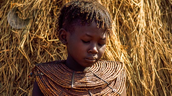 Pokot People (Pökoot), Girl With Beautiful Collar Bead Jewelly, Northern Kenya. 1990