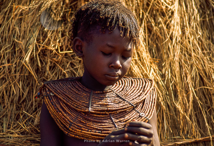 Pokot People (P_koot), Girl With Beautiful Collar Bead Jewelly, Northern Kenya. 1990