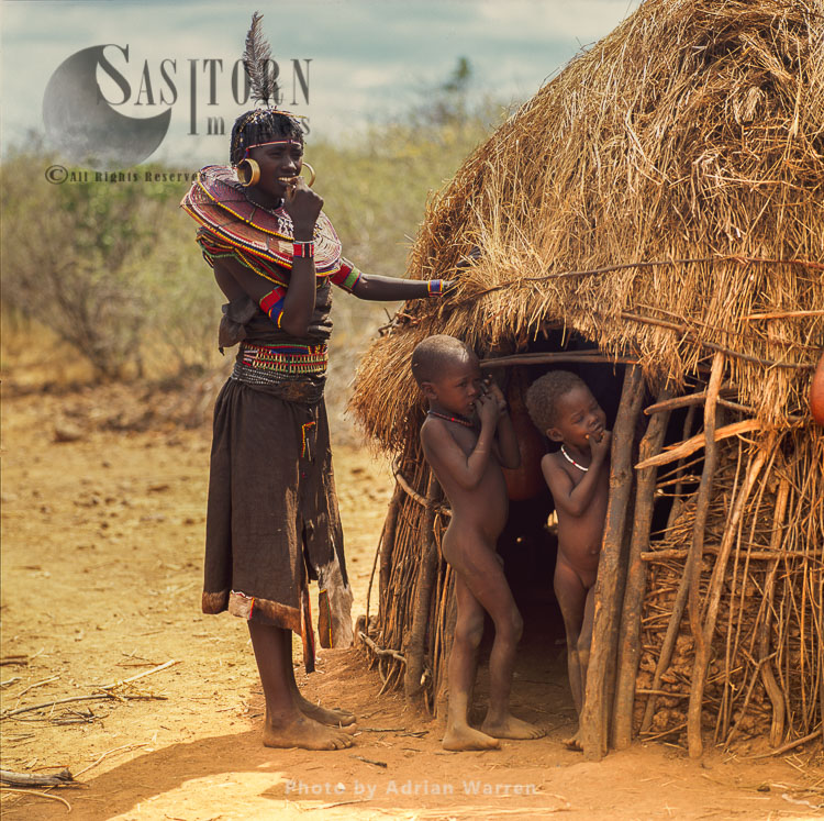 POKOT People, Woman With Children, Northern Kenya, 1990, Africa