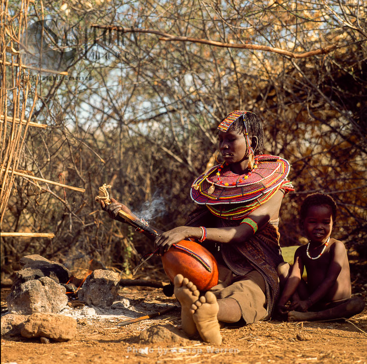 Pokot People (P_koot), Mum And A Boy, Northern Kenya. 1990