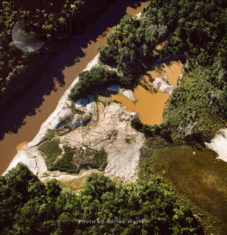 Mining Damage, Dead Trees, Mining Damage & Mining Camp, Mazaruni River, Upper Mazaruni District, Guyana