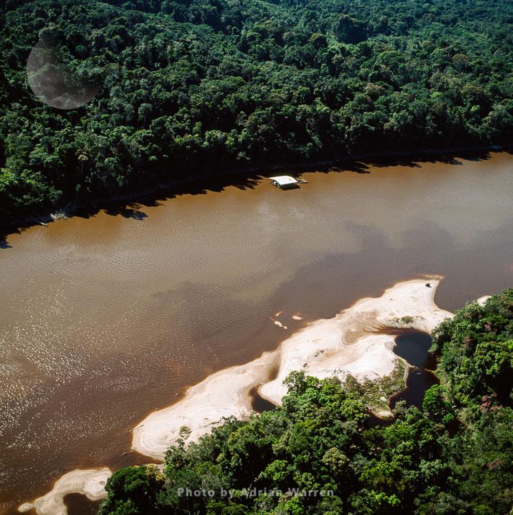 Sandbars & Mining Dredger, Near Akawaio Settlement, By The River Mazaruni, North Of Kamarang, Upper Mazaruni District, Guyana