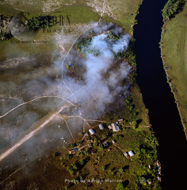 Bush Fire On A Mining Settlement, On The Bank Of Ekereku River, Cuyuni-Mazaruni Region, Guyana