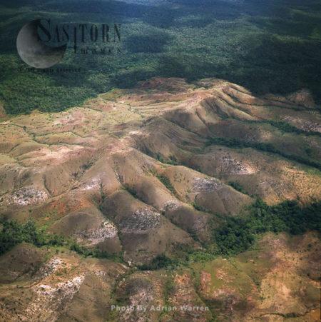 Highland Savannah And Erosion, Near Ireng River, North Of  Of Orinduik, A Diamond-mining Community, Guyana