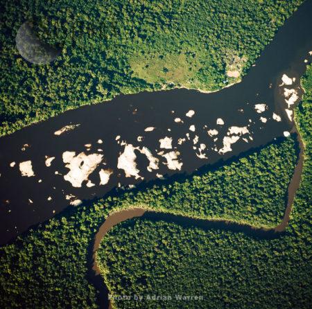 Sandbars From Mining. Upstream From Mining Settlement Oranapai – Gold/Diamonds, On Lower Mazaruni River, With Rainforest, Guyana