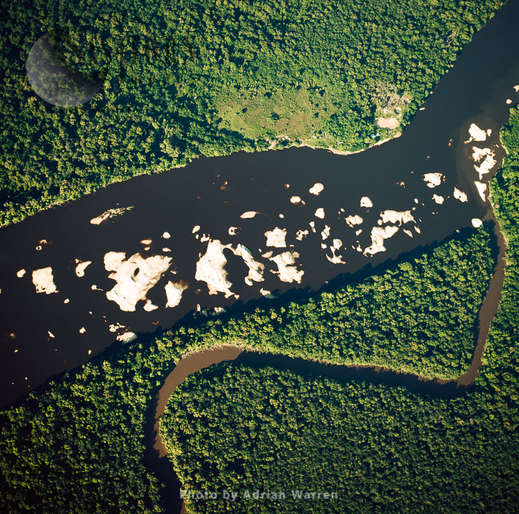 Sandbars From Mining. Upstream From Mining Settlement Oranapai _gold And Diamonds, On Lower Mazaruni River, With Rainforest, Guyana