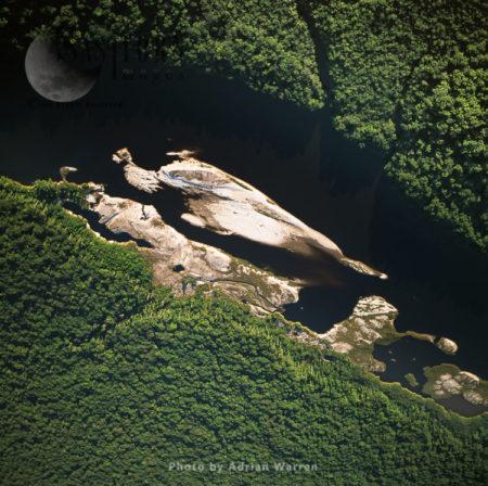 Sandbars Upstream From Peaima Falls, Lower Mazaruni River, With Rainforest, Tumureng, Guyana