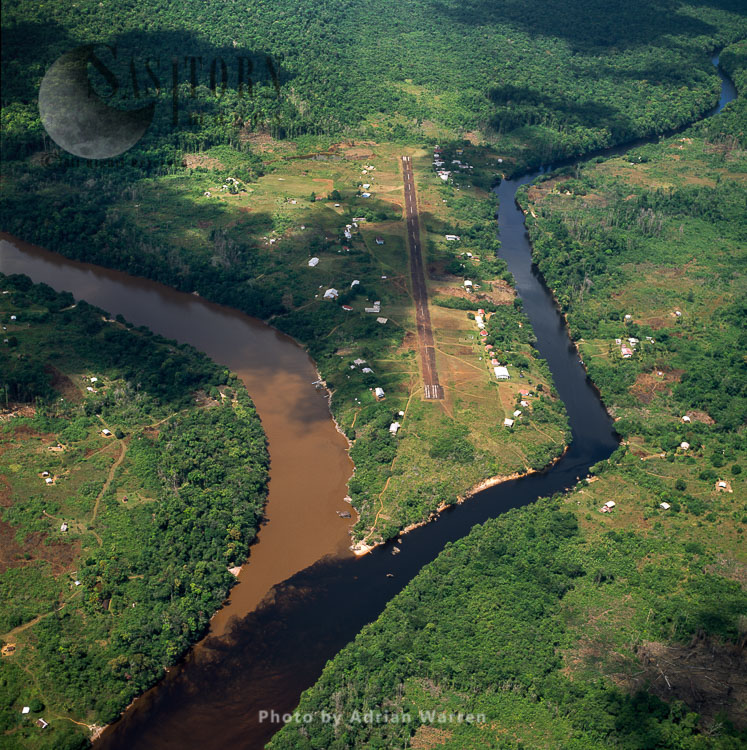 Kamarang Mouth Station And Airstrip At The Confluence Of Clean Water From River Kamarang And Mining Polluted Water From Mazaruni, Guyana