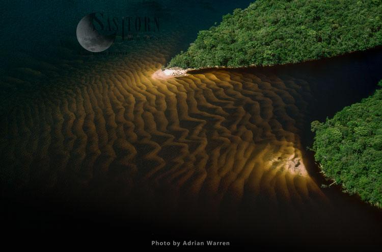 Sandbars In The Blackwater Of The Carrao River (a Tributary Of River Caroni), East Of Canaima Airport, In Estado Bolivar, Venezuela
