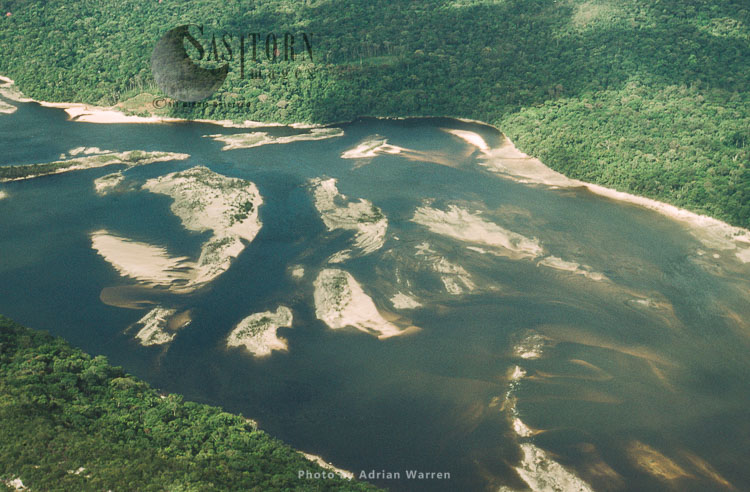 Aerial View Of Rain Forest, Caroni River With Sandbars, Venezuela