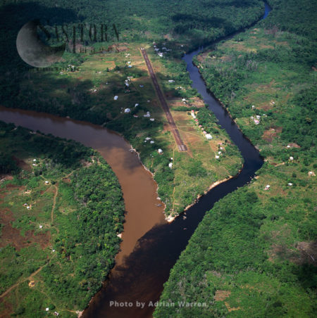 Kamarang Mouth Station And Airstrip At The Confluence Of The Unpolluted Kamarang River With The Mined And Heavily Polluted Upper Mazaruni River, March 2005, Guyana