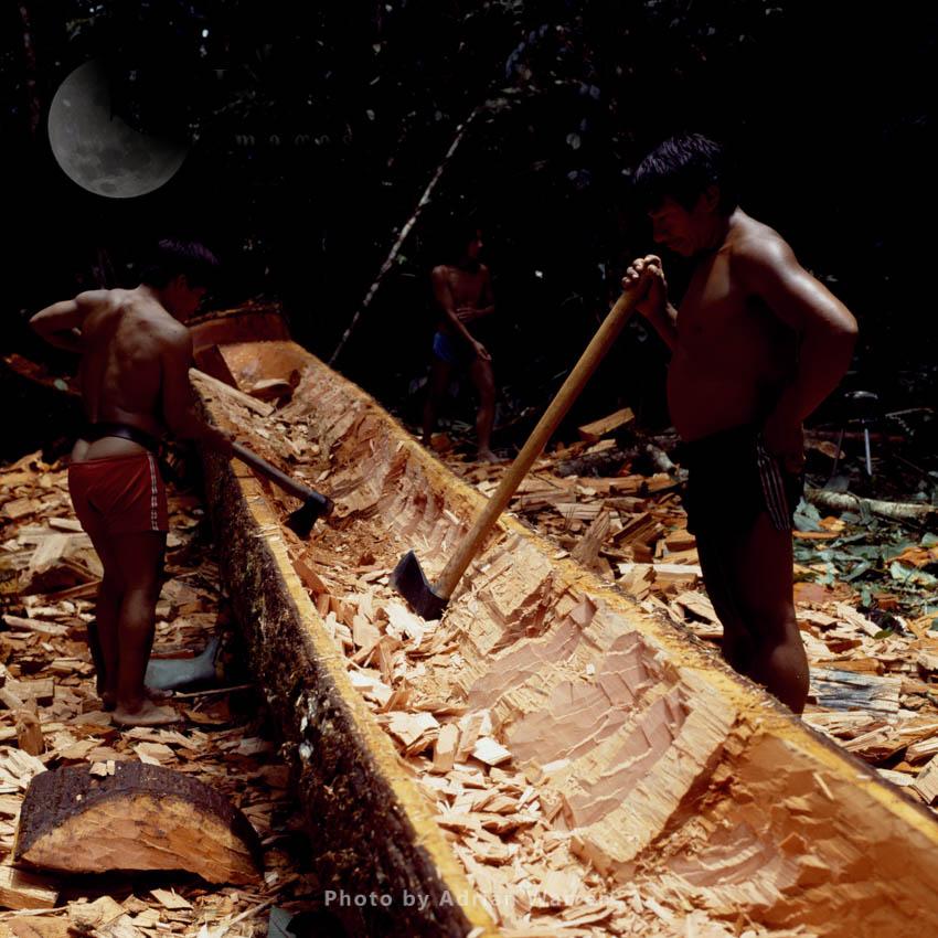 Waorani Indians: Dug-out Canoe Making, Rio Cononaco, Ecuador, 1983