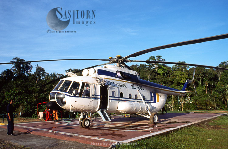 Waorani Indians, Maxus Oil Company Helicopter, Waorani Territory, Ecuador, 1993