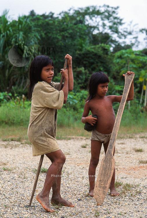 Waorani Indians, Girls, Rio Cononaco, Ecuador, 1993