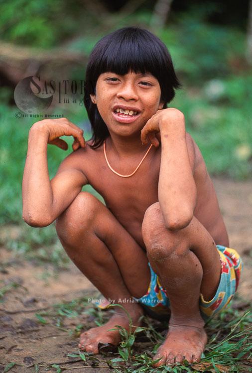 Waorani Indians – Boy, Rio Cononaco, Ecuador, 1993