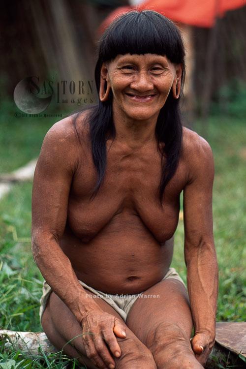 Waorani Indians, Grandmother, Rio Cononaco, Ecuador, 1993