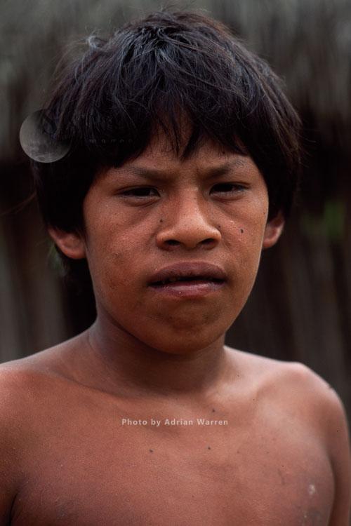 Waorani Indians, young male, Rio Cononaco, Ecuador, 1993