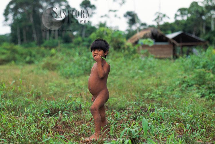 Waorani Indians, A Boy, Rio Cononaco, Ecuador, 1993