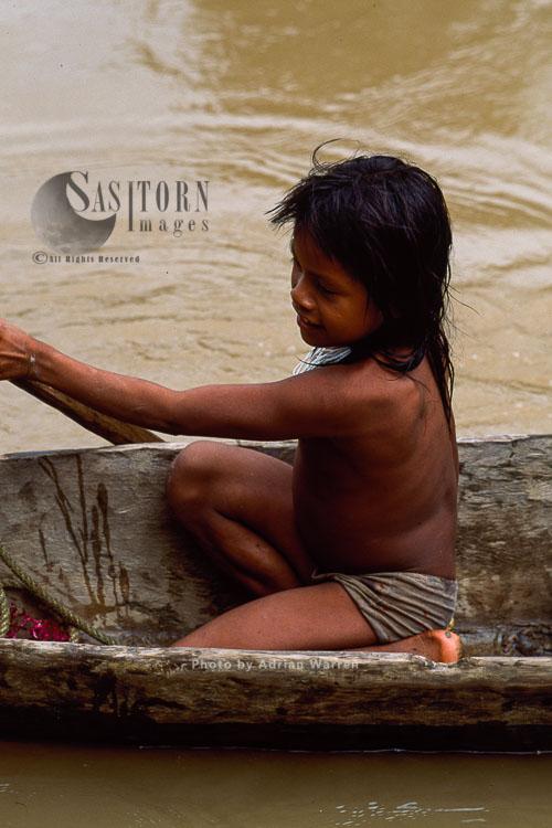 Waorani Indians, Rio Cononaco, Ecuador, 1993