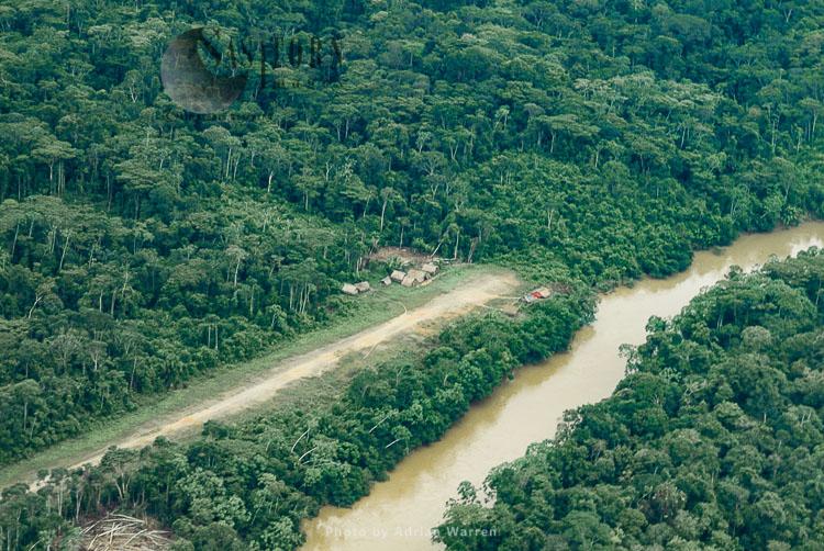 Waorani Indians, Settlement at Cononaco airstrip , Ecuador, 1993
