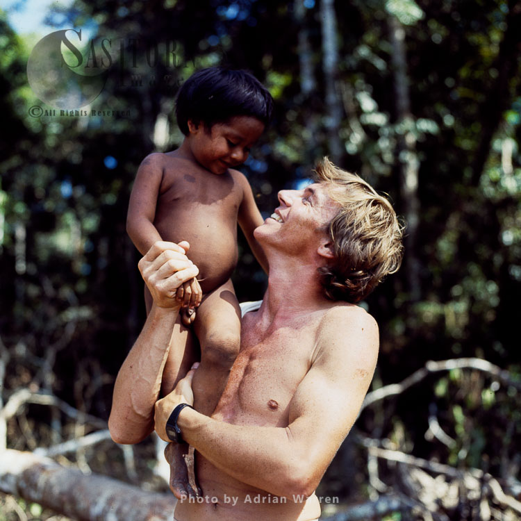 Waorani Indian Child With Adrian Warren, Rio Cononaco, Ecuador, 1983