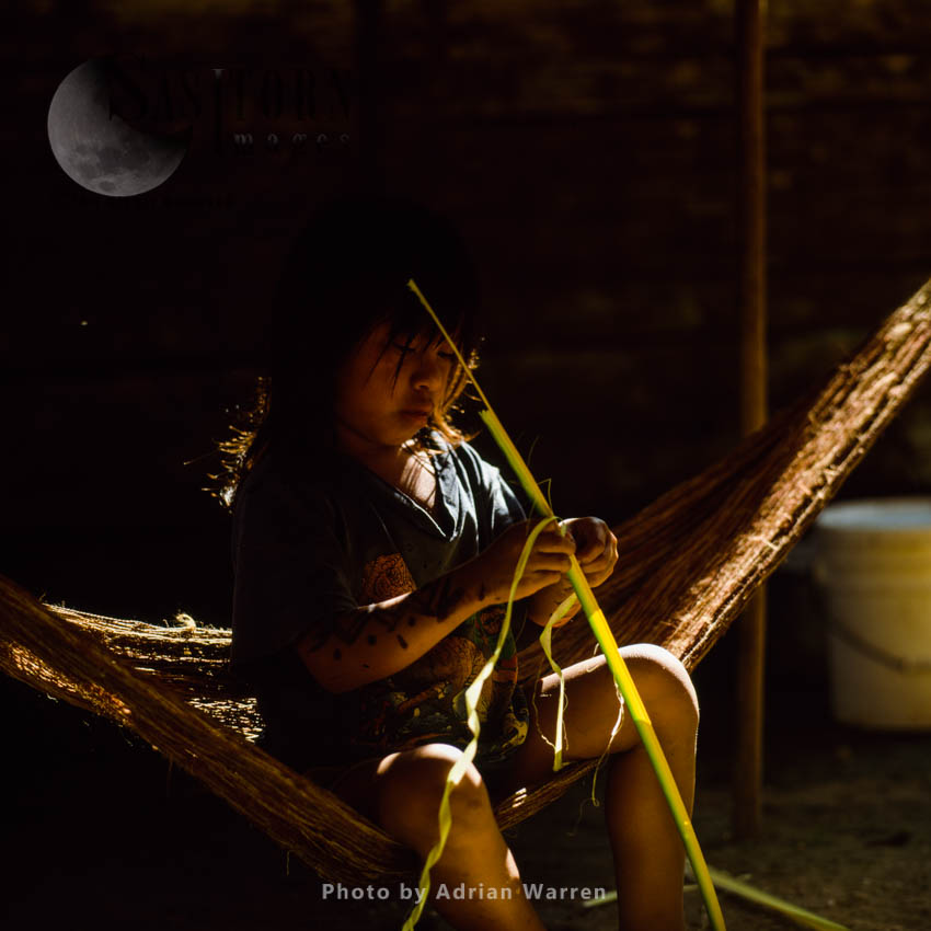 Waorani Indians: Girl Learning To Make Twine From Chambira Palm Fiber, Rio Cononaco, Ecuador, 2002