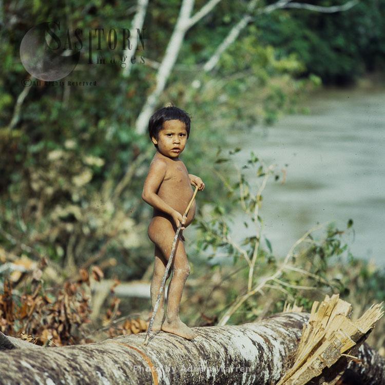 Waorani Indians, A Boy, Rio Cononaco, Ecuador, 1983