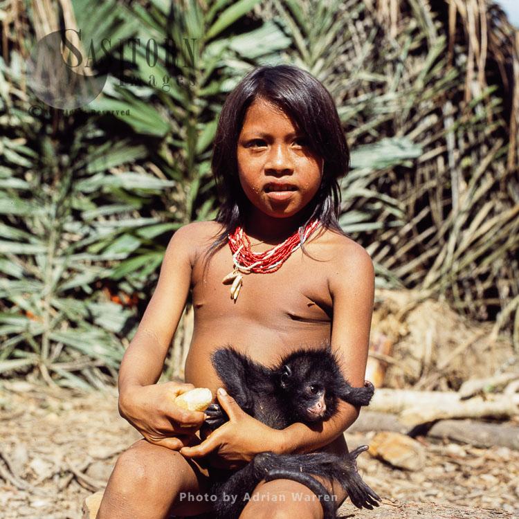 Waorani Indians: Girl With A Spider Monkey Pet, Rio Cononaco, Ecuador, 1983