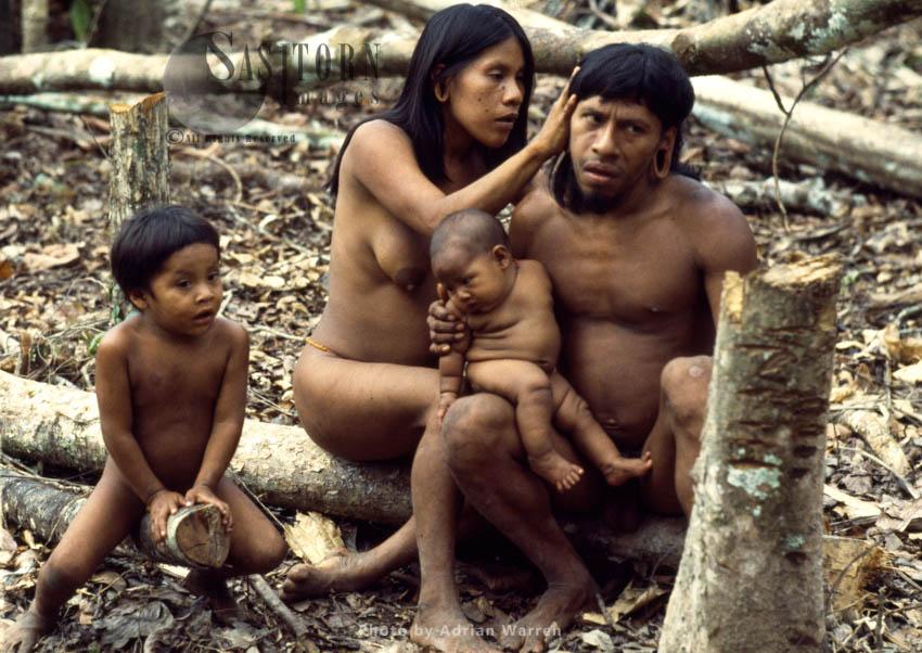 Waorani Indians, Family Grooming, Rio Cononaco, Ecuador, 1983