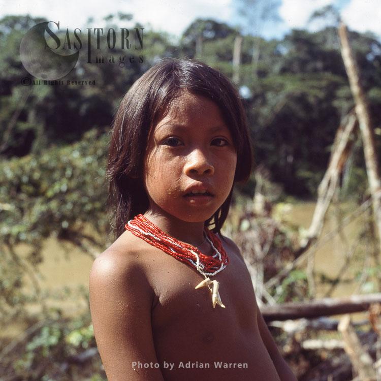 Waorani Indians, A Girl, Rio Cononaco, Ecuador, 1983