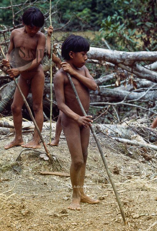 Waorani Indians : learning how to use Spears, Rio Cononaco, Ecuador, 1983
