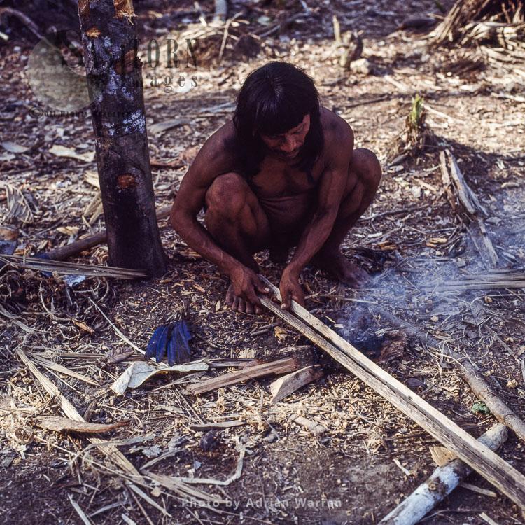 Waorani Indians: Caempaede Making Blowgun, Rio Cononaco, Ecuador, 1983