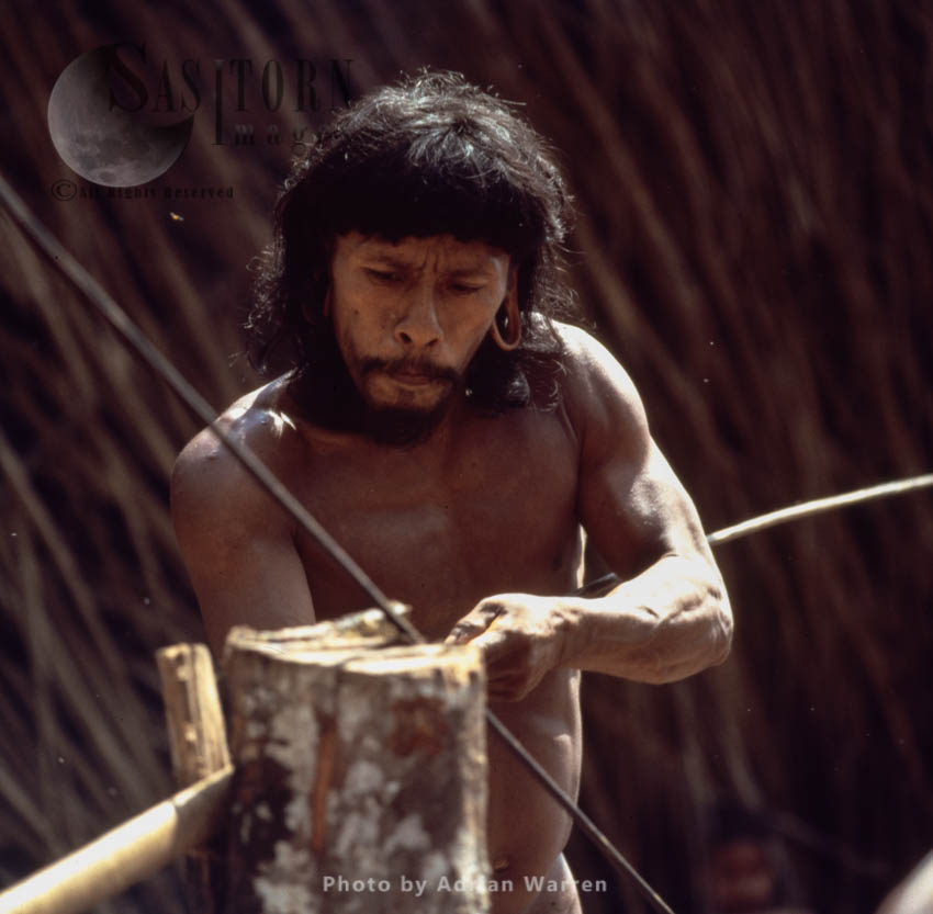 Waorani Indian: Blowgun Making, Rio Cononaco, Ecuador, 1983
