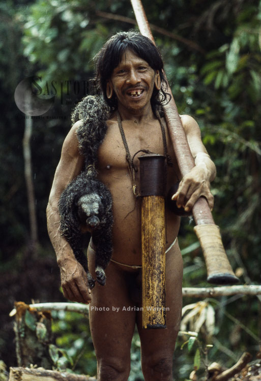 Waorani Indian, Caempaede After Hunt With Saki Monkey, Cononaco Area, Ecuador, 1983