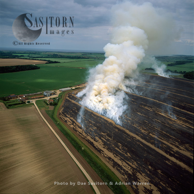 Prescribed Burns Of Fields To Encourage The Growth Of New Plants, Norfolk
