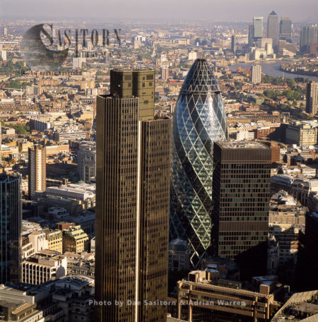 Tower 42, 30 St Mary Axe (Gherkin),  In London's Primary Financial District, The City Of London