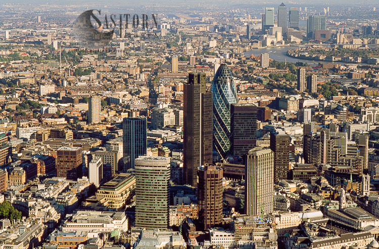 Commercial Skyscraper In London's Primary Financial District Including Tower 42 And  30 St Mary Axe Gherkin), City Of London