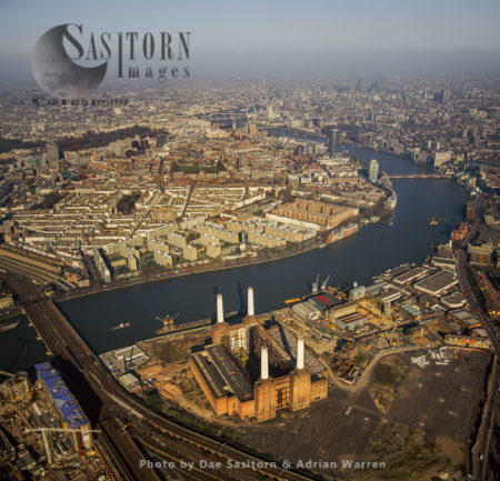 Battersea Power Station And The River Thames, London