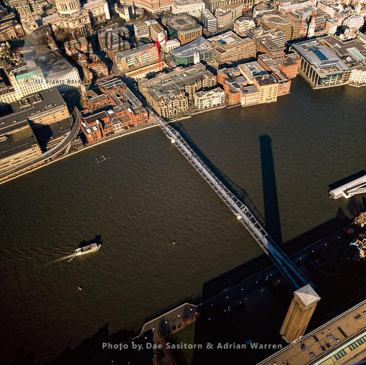 London Millennium Footbridge, A Steel Suspension Bridge For Pedestrians Crossing The River Thames, London