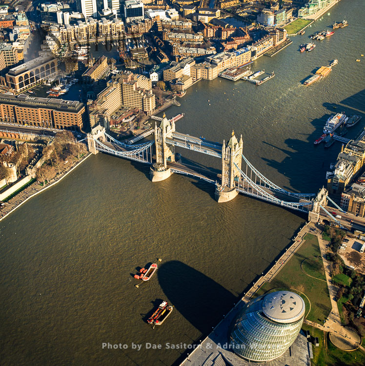 City Hall And Tower Bridge On The River Thames, London